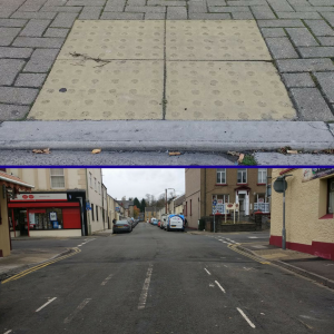 Accessible dropped kerbs used to allow people with disabilities to cross safely