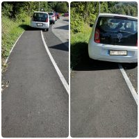 Examples of inconsiderate parking in Depot Road, Aberdare