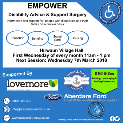 Wednesday 7th March 2018 11am - 1pm in Hirwaun Village Hall