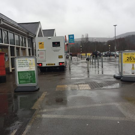 Clear access to the dropped kerb in Tesco Aberdare