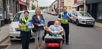 Accessible News, South Wales Police and RCT Disability Forum meeting drivers in Aberdare Town Centre