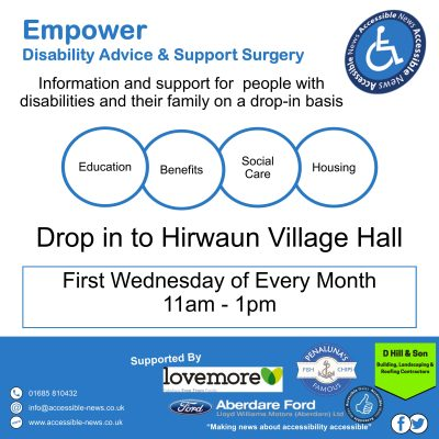 Empower Disability Advice and Support Surgery Wednesday 1st August 2018