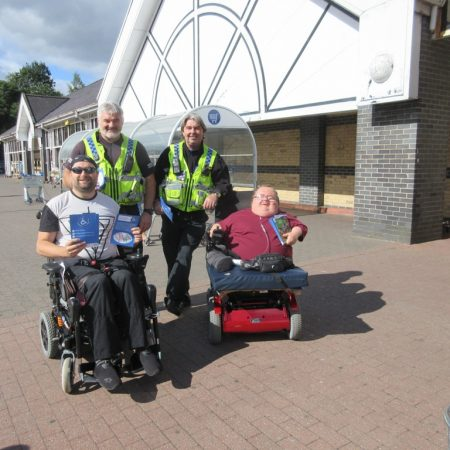 PC Nick James, PCSO Ceri Price with Harold Williams (representative from RCT Disability Forum) and founder Richard Jones