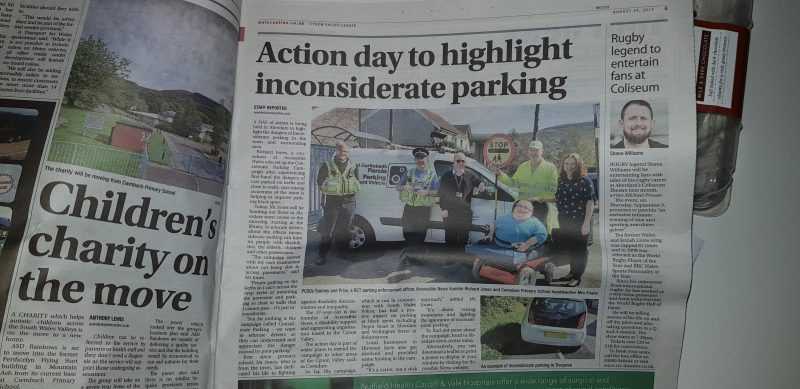 An article in the Cynon Valley Leader on our Considerate Parking Campaign