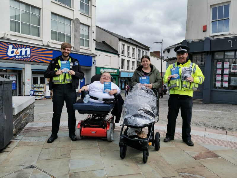 PCSO's Toomey and Price with Richard Jones and Lindsey Williams from Accessible Wales